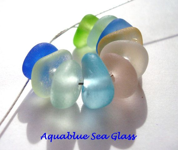 10  TINY Center Drilled Sea Glass From  by aquablueseaglass, $16.00
