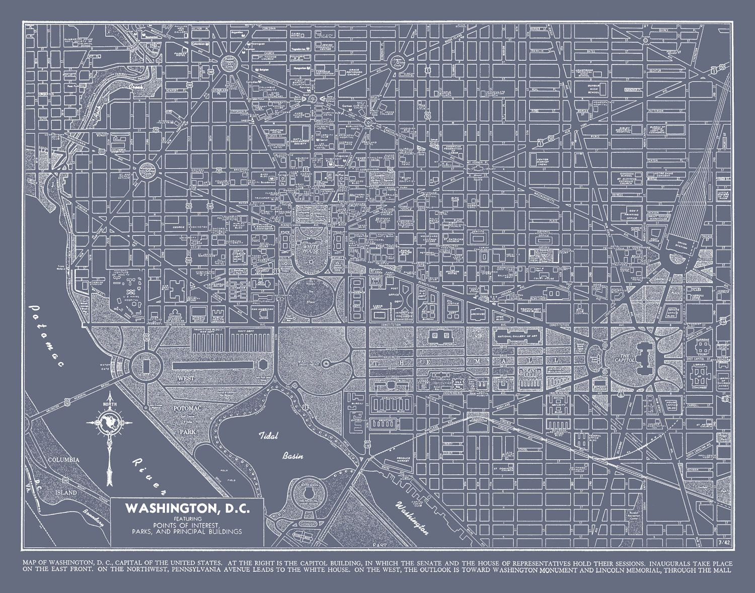 Washington DC Street Map Vintage Gray Map Print Poster Bedrooms - Washington dc capitol map