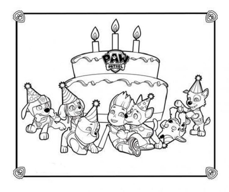 Paw Patrol Birthday Coloring Pages Check More At Coloringareas