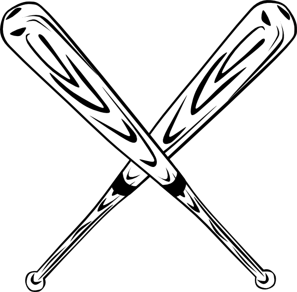 Baseball bat drawing. Softball bats crossed clipart