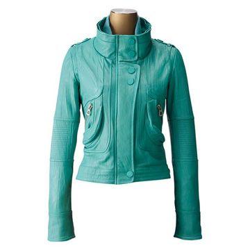 Veste cuir bleu turquoise