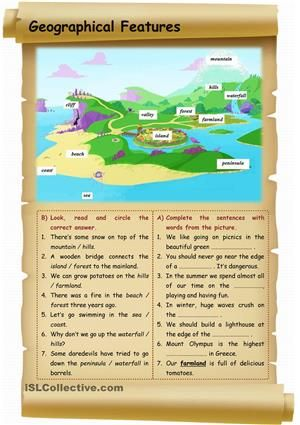 A worksheet to practise geographical features. - ESL worksheets ...