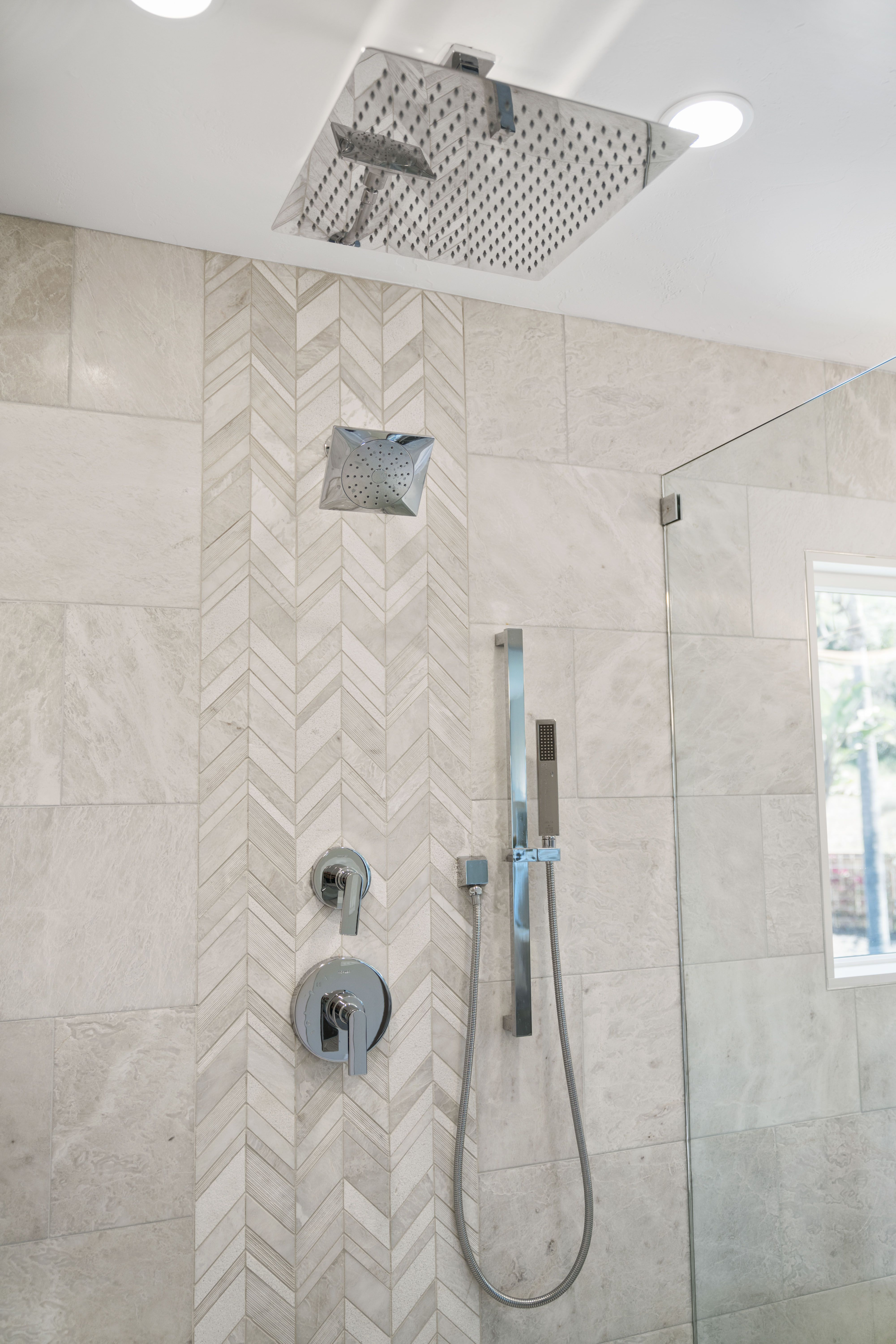 Imported Iridescent Chevron Pattern Tiles Meticulously Laid In