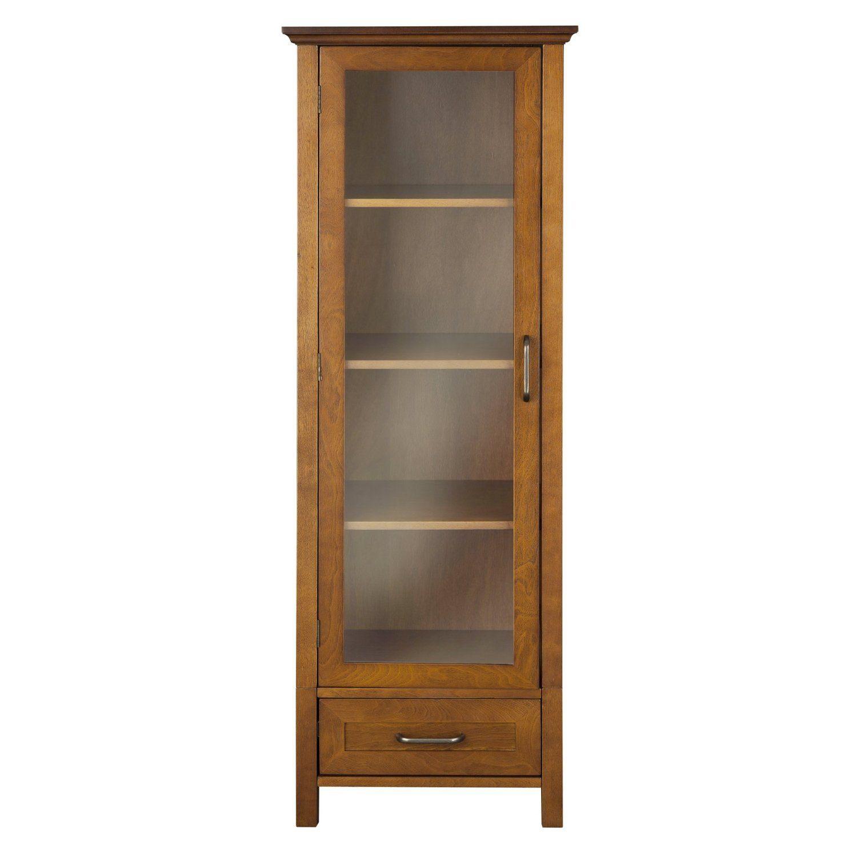 Oak Finish Linen Tower Glass Door Bathroom Storage Cabinet W Drawer