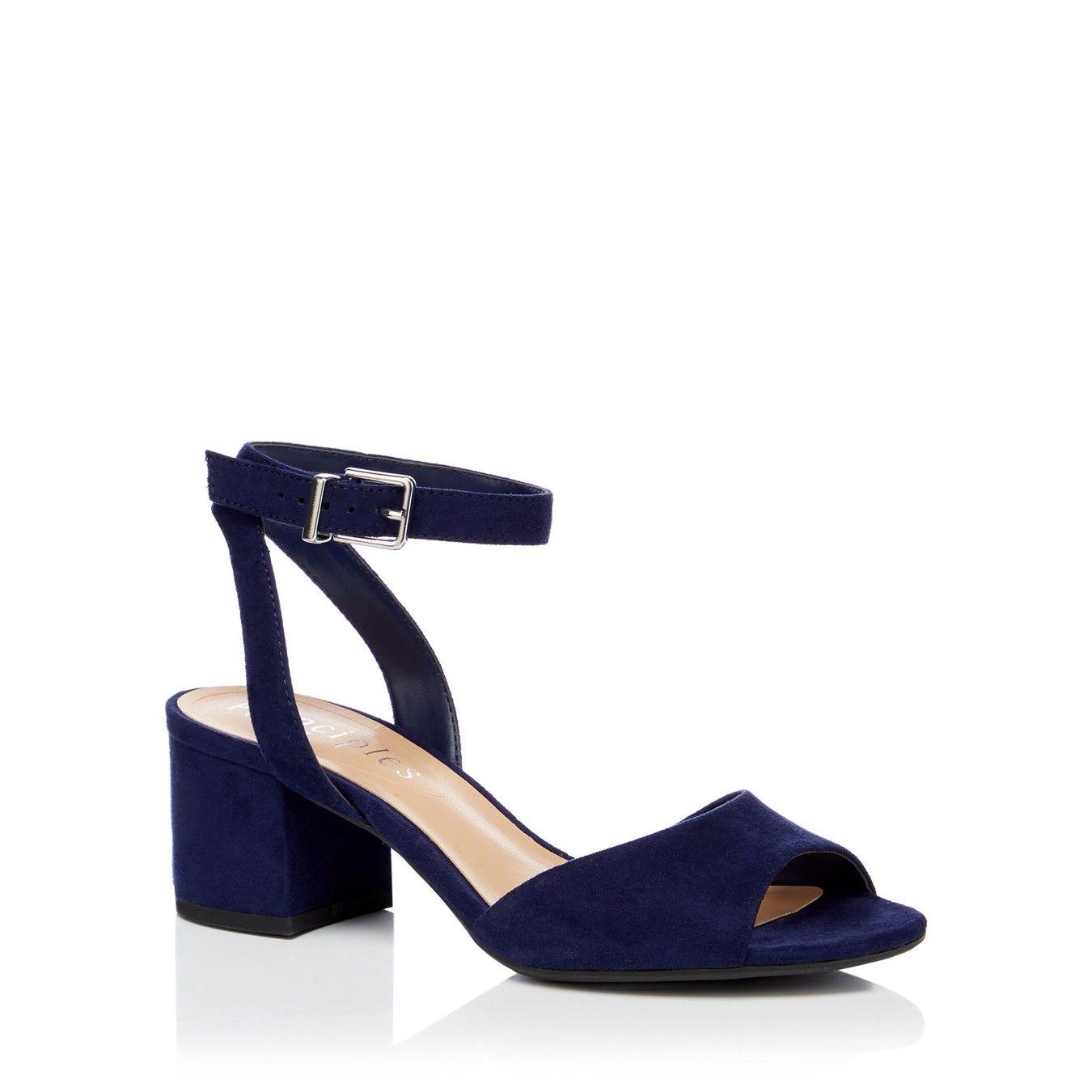 Navy block heel sandals