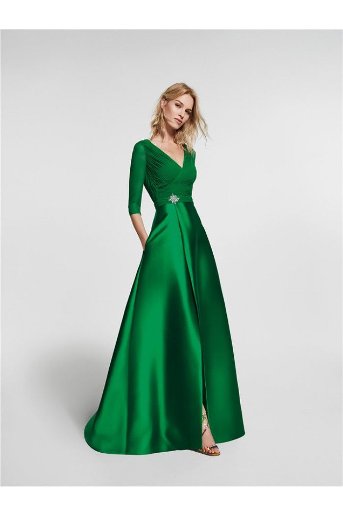 A Line V Neck Sleeved Long Emerald Green Satin Prom Dress With ...