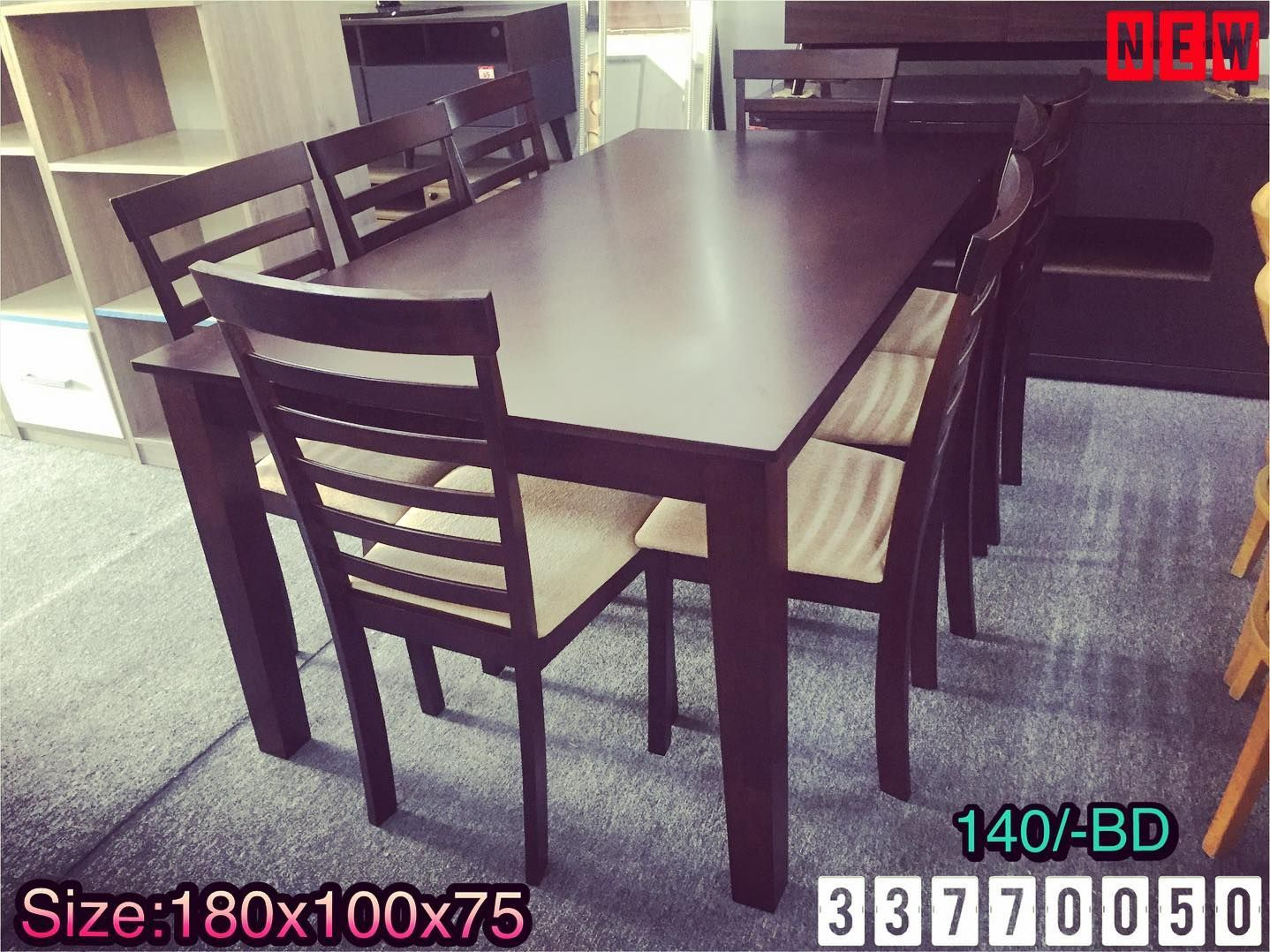 Wood Dining Table For 8 Person Size 180x100x75 Brown Color New Made In Malaysia Price 140 Bd طاولة طعام خشب ل 8 اشخاص ل Dining Table Decor Home Decor