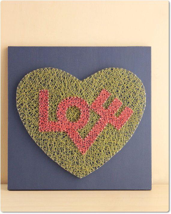 Wall String Art Love in Heart String Wall Art by mintiwall