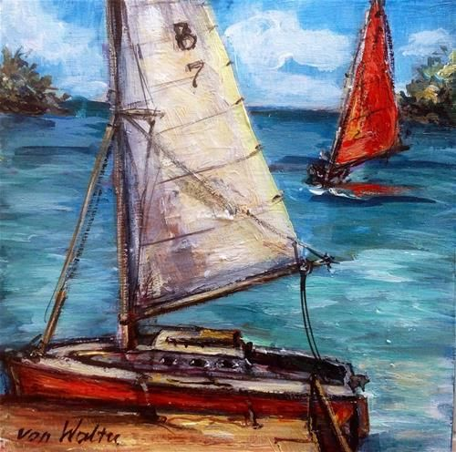 Sailing boats in Bermuda - Original Fine Art for Sale - © by Sonia von Walter
