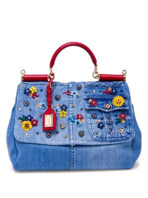 79dfc1620b DOLCE   GABBANA Miss Sicily Floral-Embellished Denim Top-Handle Satchel.   dolcegabbana  bags  leather  denim  satchel  shoulder bags  hand bags   cotton