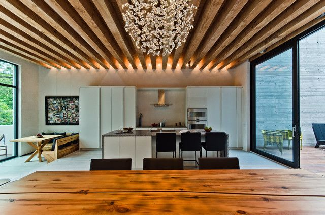 Exposed GluLam beams  interesting lighting  Architecture and Art