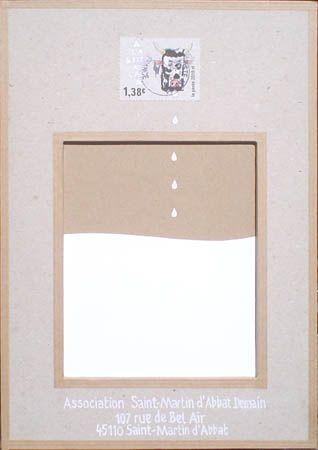 """Timbre d'artiste LetterboxArt© : """"Boîte à lait"""" par Eni Looka."""