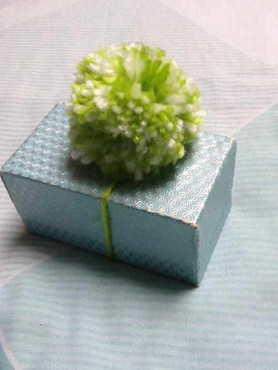 Yarn Gift Decoration, Pom Pom Decoration, Green Gift Decoration, Present Decoration, Pom Pom on a String, Pom Pom Gift Wrap, Green Gift Wrap