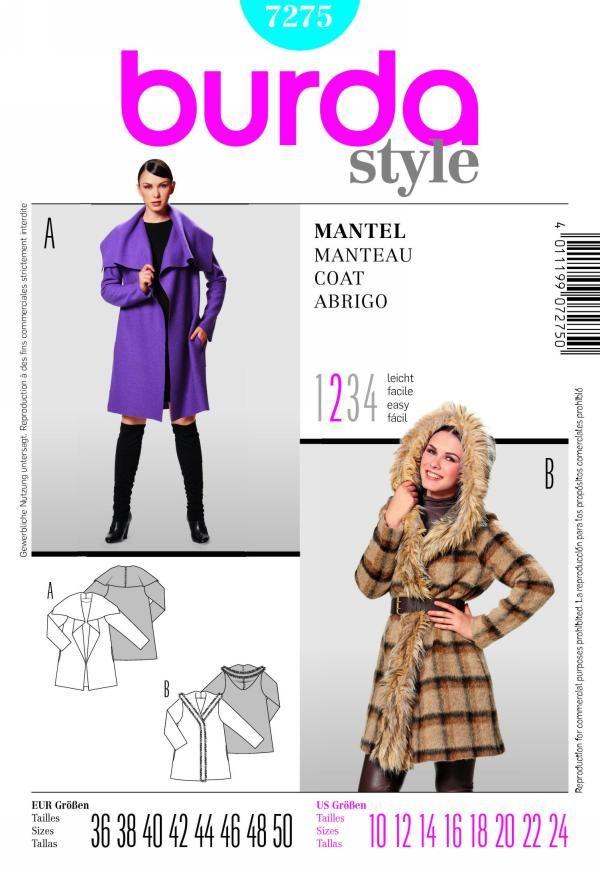 Burda 7275 from Burda patterns is a misses jacket sewing