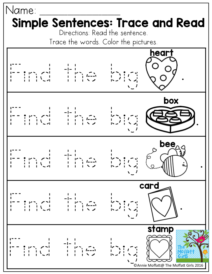 february fun filled learning preschool pre primer sight words simple sentences sight word. Black Bedroom Furniture Sets. Home Design Ideas