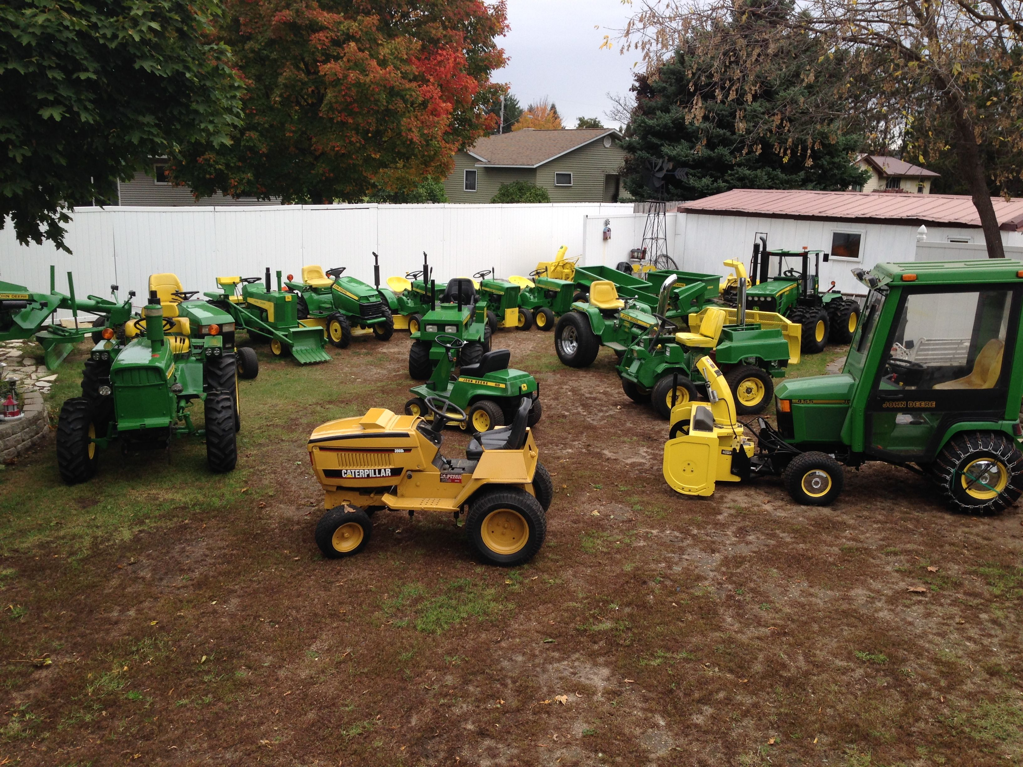 Several of my custom garden tractors in my backyard | The Little ...