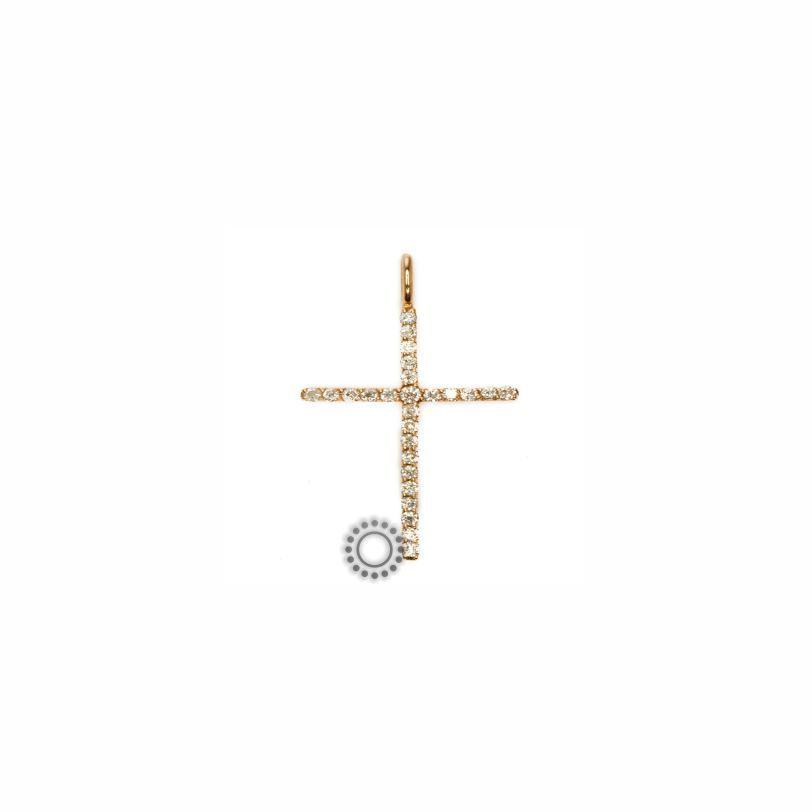 00279a03a73 Βαπτιστικός σταυρός ροζ χρυσός με διαμάντια   Κορίτσι   Βαπτιστικοί ...