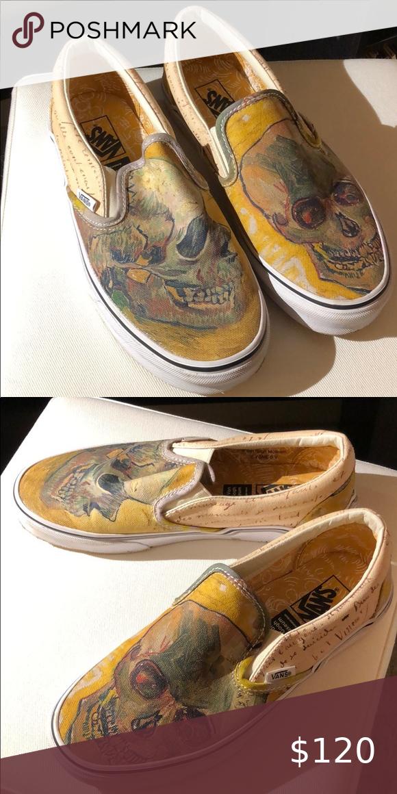 Vans X Vincent Van Gogh Skull Slip Ons Vans Slip On Vans Classic Slip On Sneaker