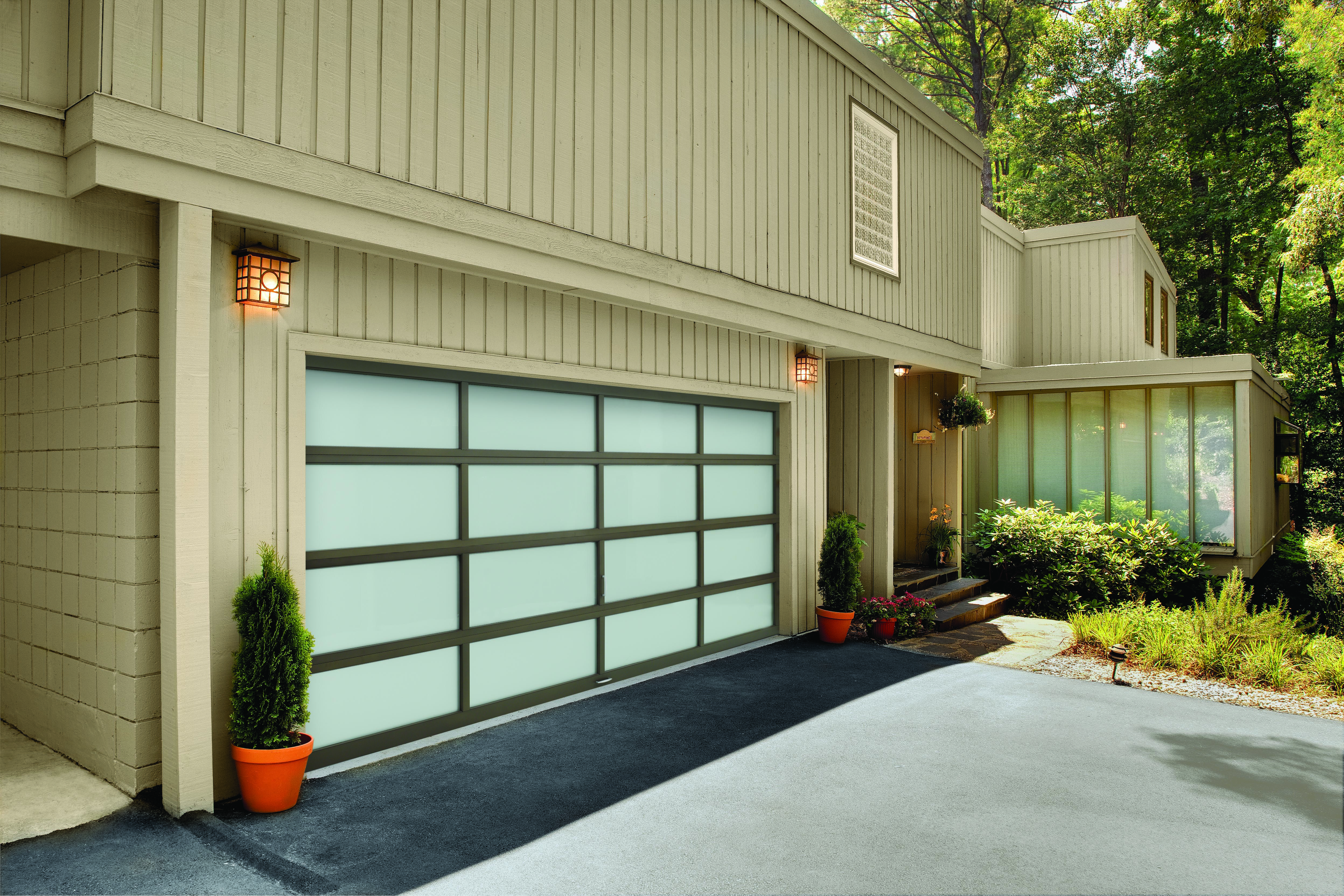 Amarr 16u0027x7u0027 Vista Garage Door With Textured Bronze Frame And Frost Glass.