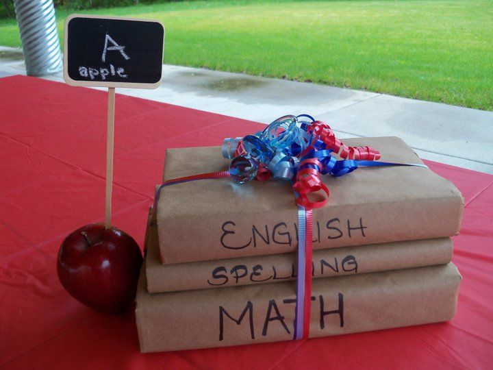 Paper Bag Book Cover Decoration : School teacher themed baby shower centerpieces use