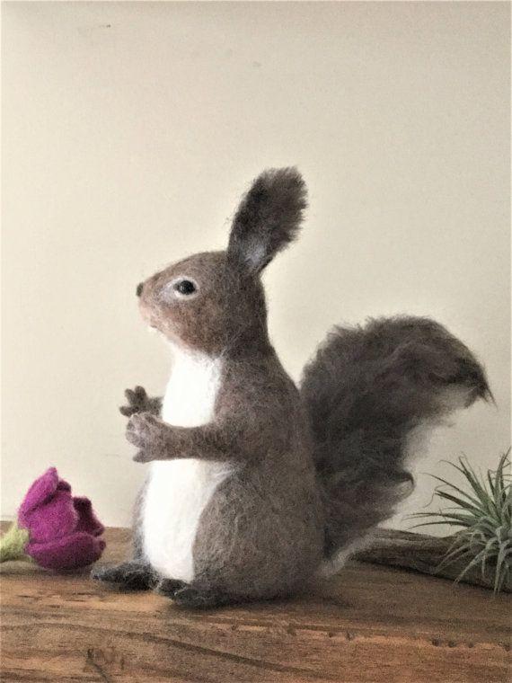 Choose ONE Squirrel Baby Needle Felted Acorn Artist Ooak Handmade to Order