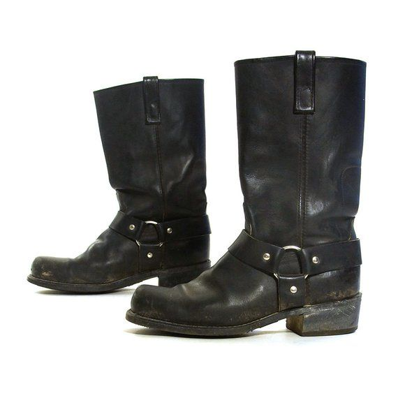 6515ea2cfd46f7 80s Motorcycle Boots with Ankle Strap Vintage Distressed Black Leather Mid  Calf Biker Boots Square Toe Dingo Moto Boots Mens 9 Women s 10.5