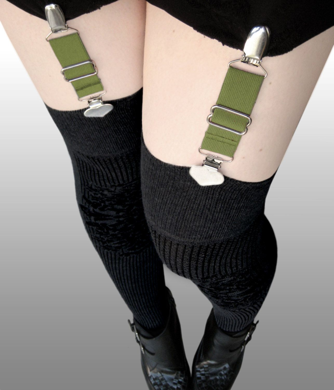 heart suspender garter clips in olive green for stockings tall