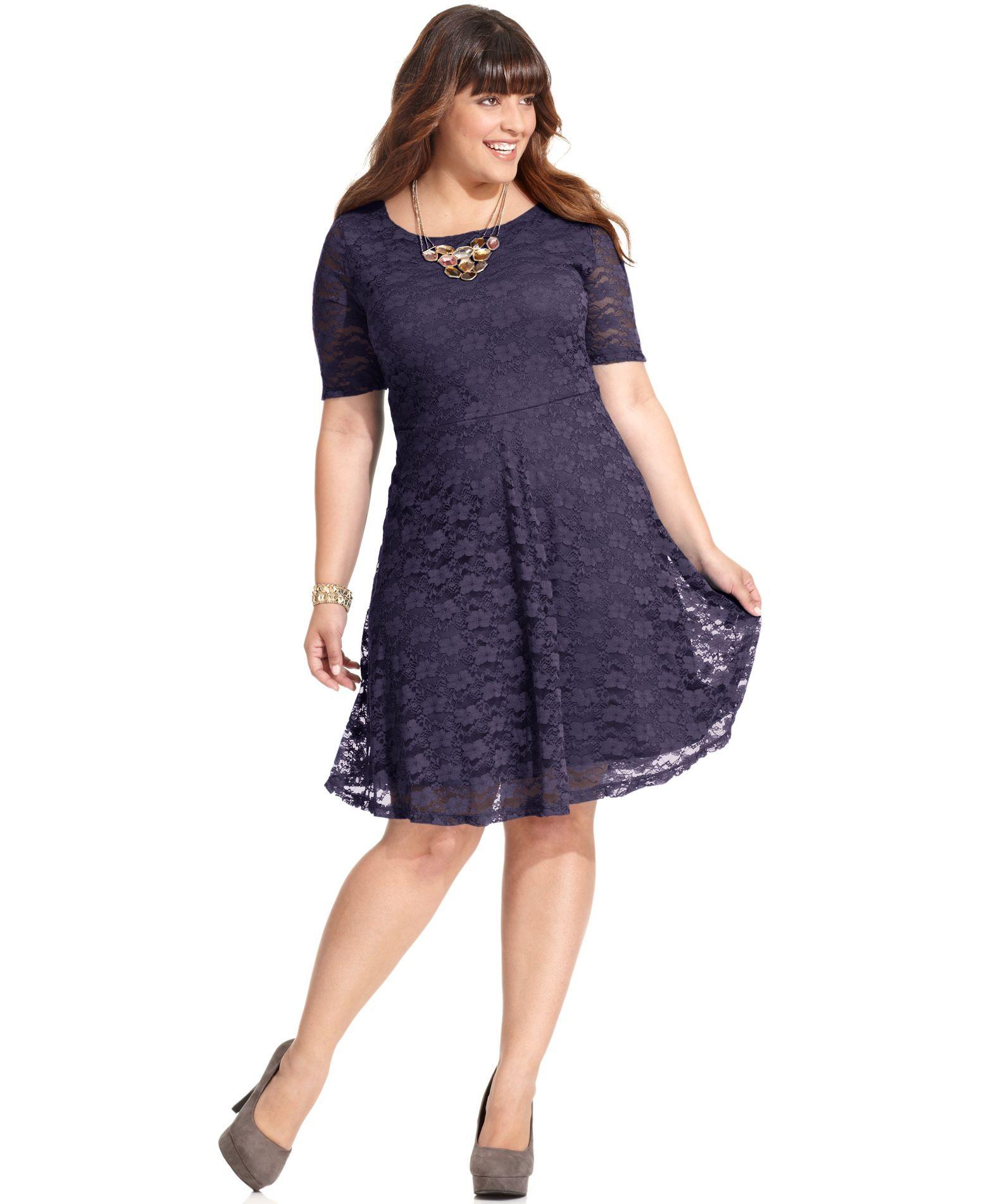 Love Squared Plus Size Short-Sleeve Lace A-Line Dress - Dresses ...
