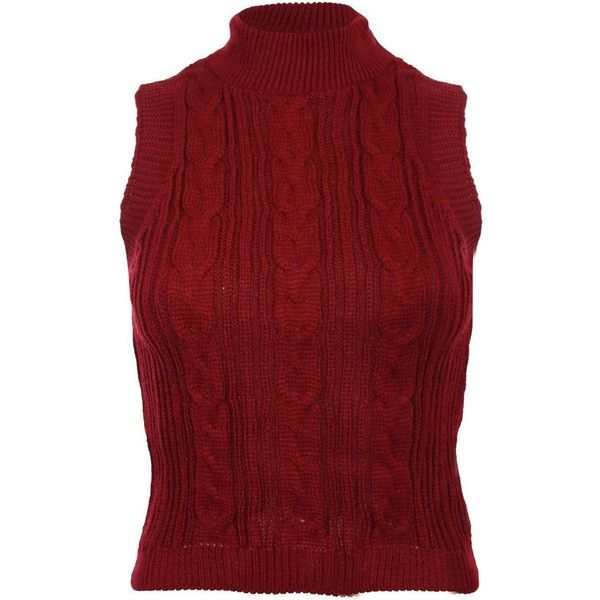 Pilot High Neck Sleeveless Cable Knit Jumper 22 Liked On