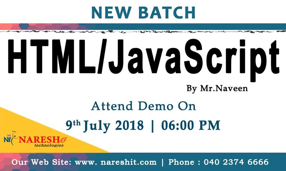 Attend free demo of htmljavascript on 9th july at 600 pm