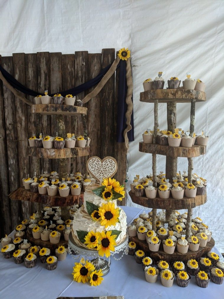 Rustic Sunflower Wedding Cake And Cupcakes With Images