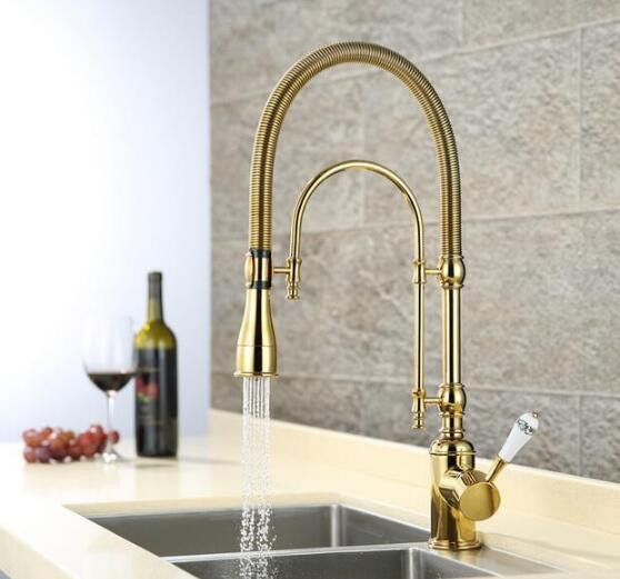 New Arrivals Pull Out Kitchen Faucet Gold Sink Mixer Tap Top Quality Vanity Water Tapfaucet Ceramics