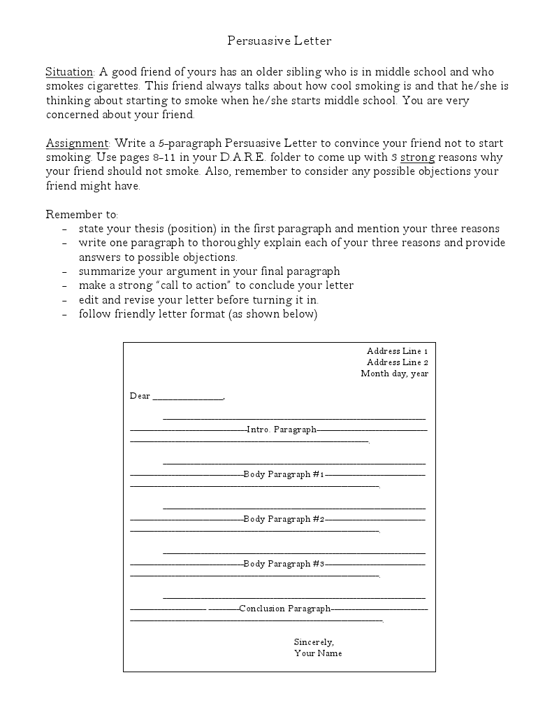 Persuasive Letter Writing Good Format Example  Writing