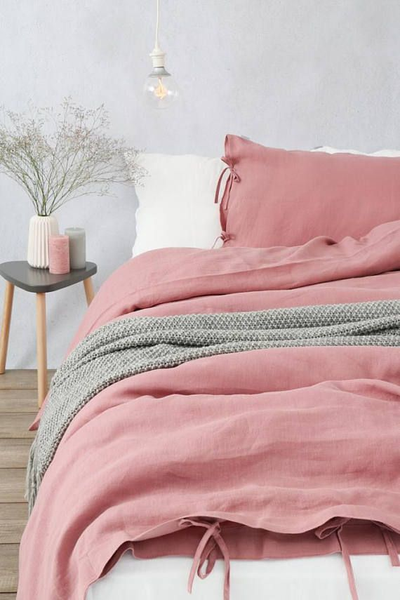 Stonewashed Linen Bedding 1 Duvet Cover Dusty Pink Color Duvet Cover King Queen Size Duvet Queen Size Duvet Bed Linen Sets Linen Duvet Covers