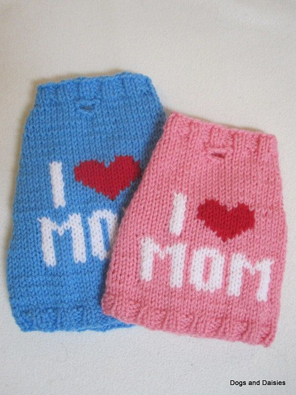 Hand Knit Dog Sweater - I Heart Mom T-Shirt - XS-L - Made to Order ...