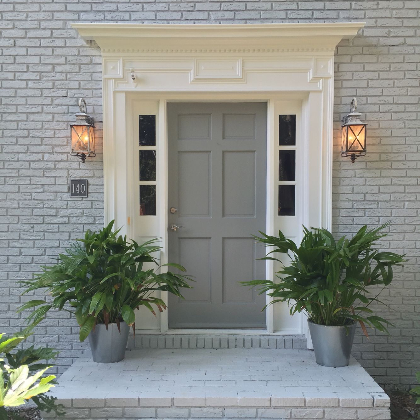 New house exterior color scheme sherwin williams gray screen brick and ear grey door - Grey exterior house paint ideas ideas ...