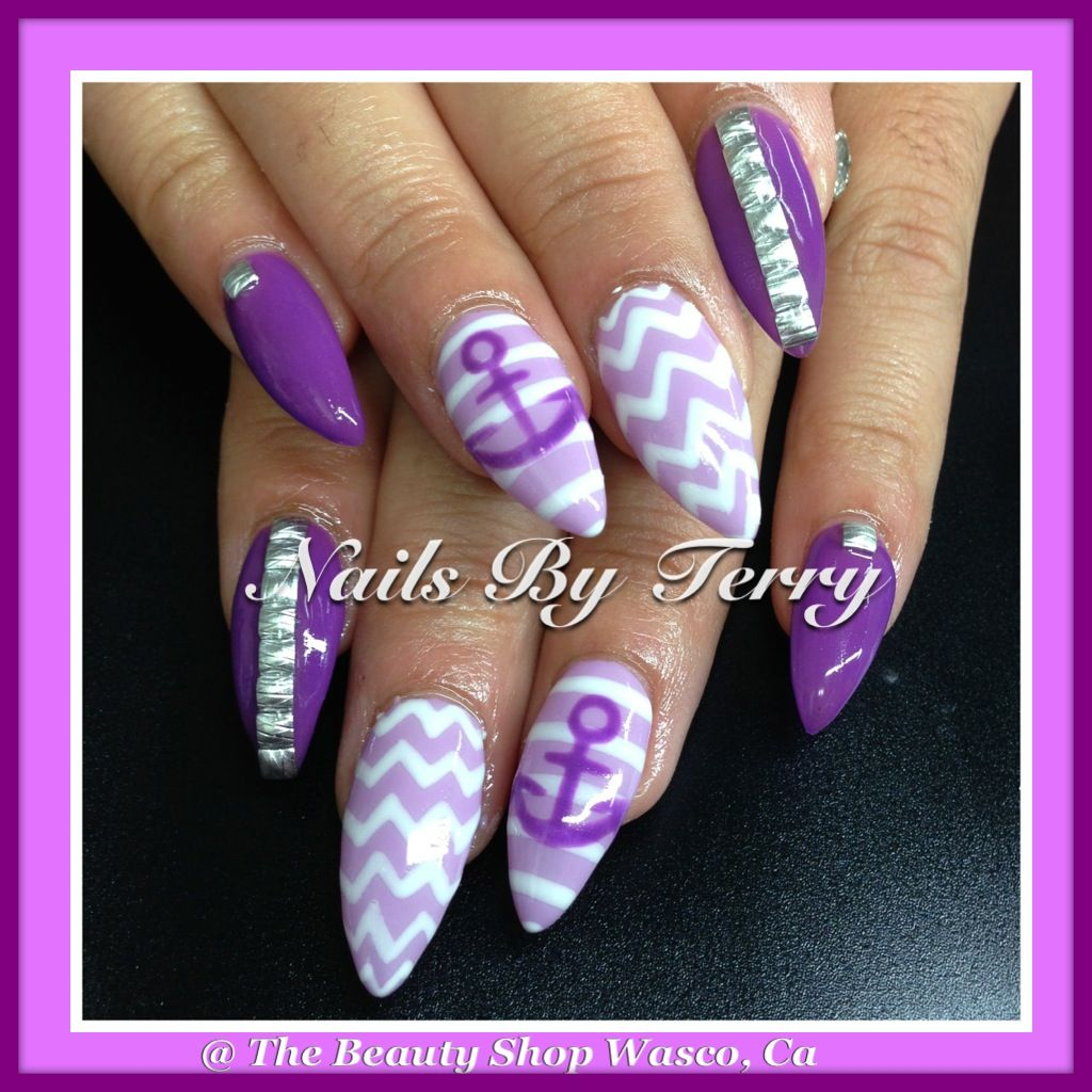 Purple stilettos gel nails