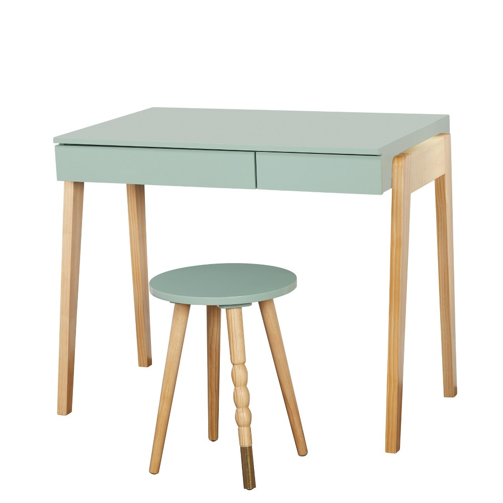 Couchtisch Alena Weiß Alena Desk And Stool Set Mint Natural Green Natural Buylateral
