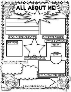 first day of school superhero all about me pinterest superhero school and worksheets. Black Bedroom Furniture Sets. Home Design Ideas