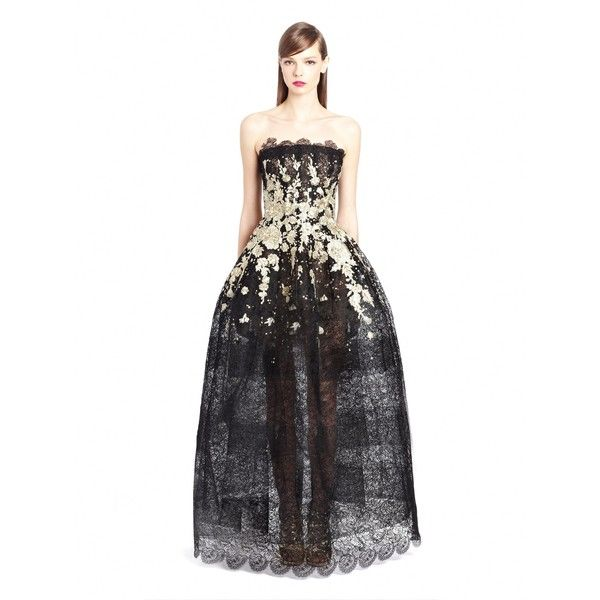 Oscar de la Renta Falling Flowers Embroidered Lace Gown ($10,990) ❤ liked on Polyvore featuring dresses, gowns, white evening dresses, white sequin dress, sequin evening gown, white gown and white ball gowns