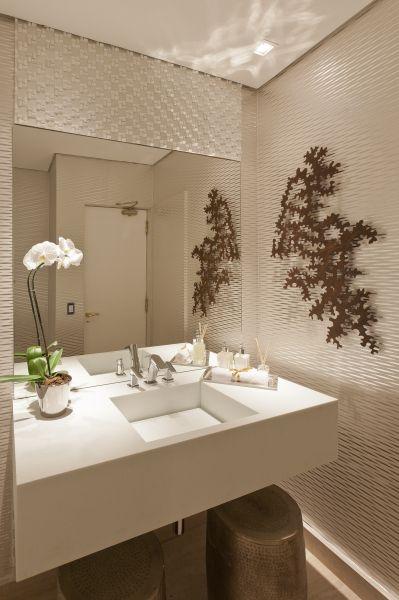 lavabo bancada branca cuba esculpida espelho sem frontão  BANHOS  Pinterest -> Cuba Banheiro Branca
