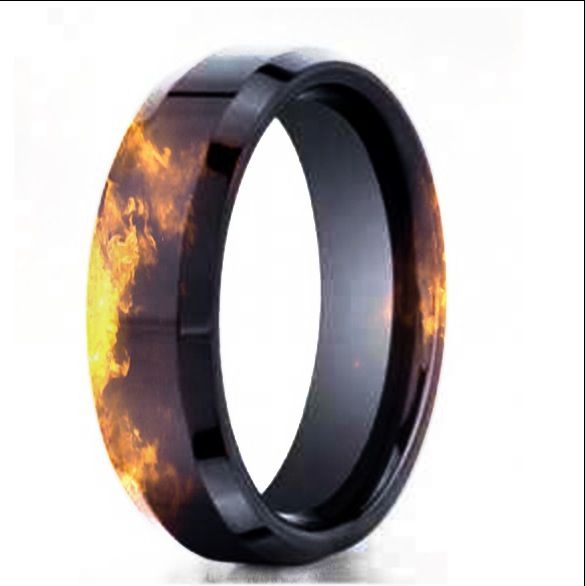 Black Gold Fire Effect Wedding Band Firefighter Wedding Mens Wedding Rings Rubber Rings Wedding