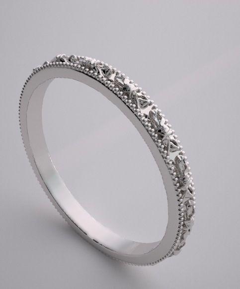 Pee Gold Custom Design Antique Style Bow Motif Wedding Band Ring