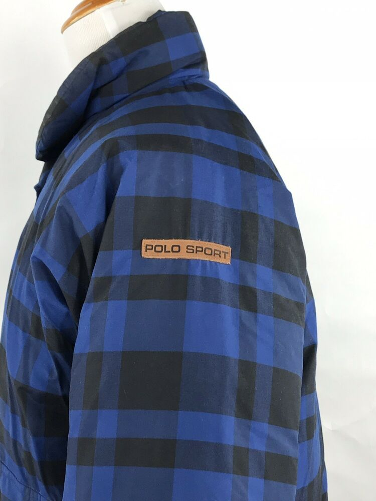 fc325e8f43e0 POLO SPORT Ralph Lauren Mens Blue Buffalo Plaid Puffer Bomber Jacket Down Coat  M