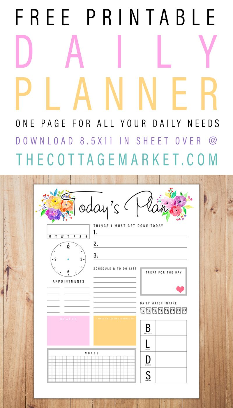 Free Printable Daily Planner /// One Page For All Your Daily Needs