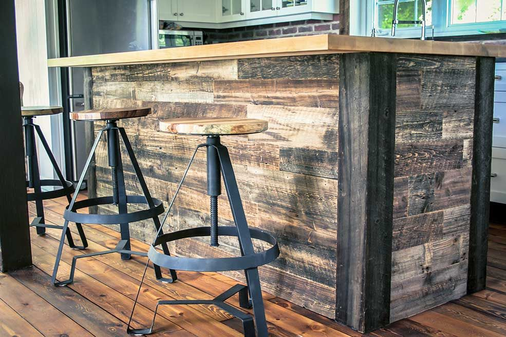Ilot Central Bois De Grange Et Erable Wood Pallet Furniture Wood Pallets Pallet Wood Coffee Table