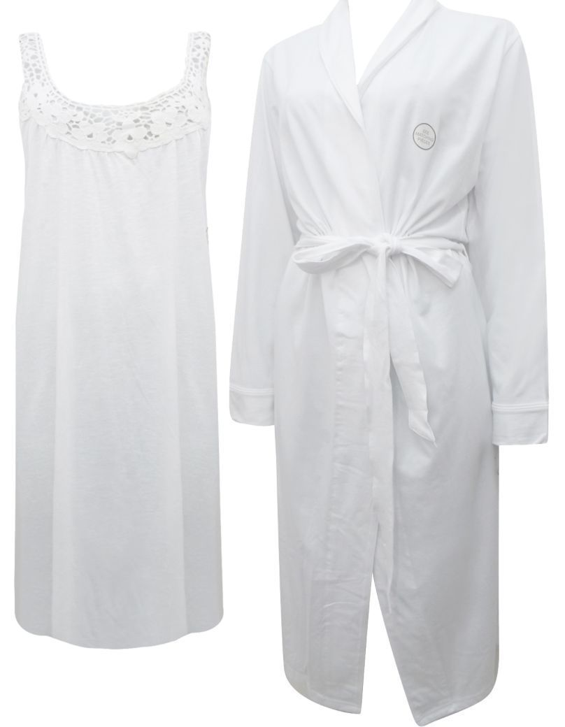New Dunnes Store Ladies 2 Piece Cotton Nightdress Dressing Gown Robe ...