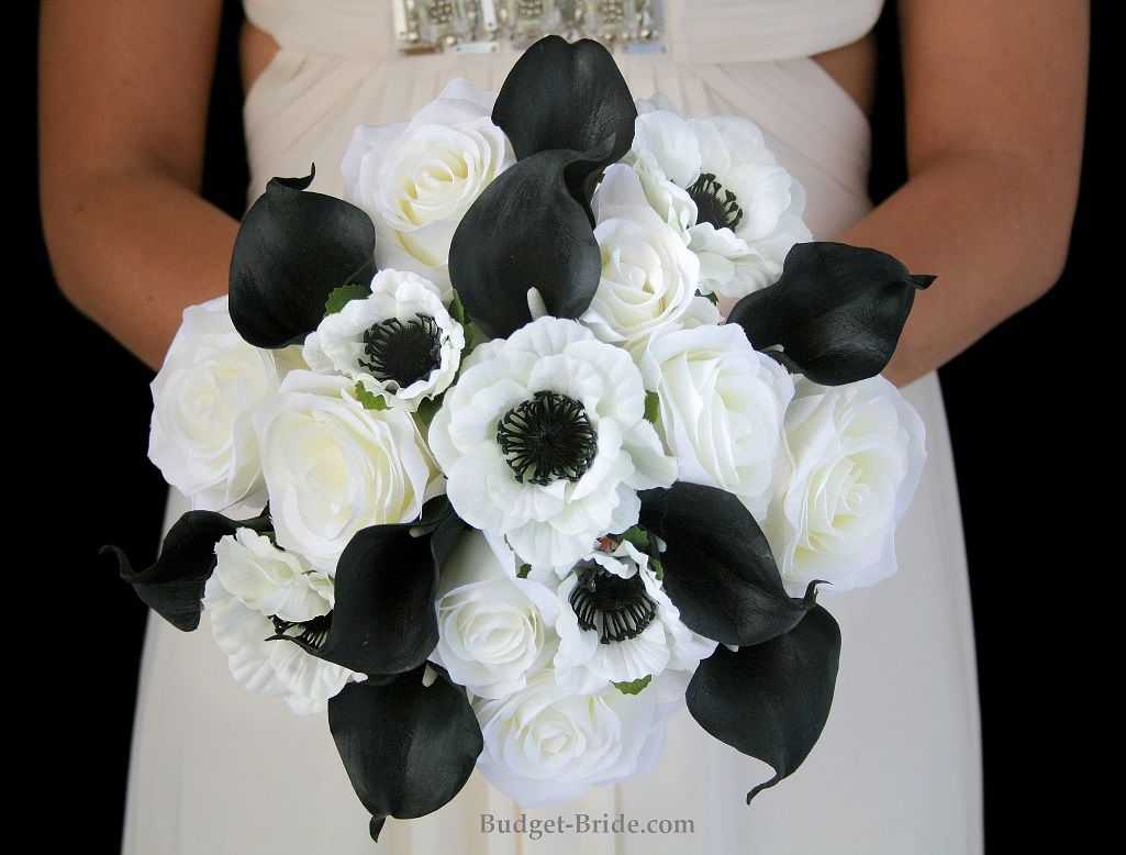 Black And White Brides Bouquet With White Anemones With