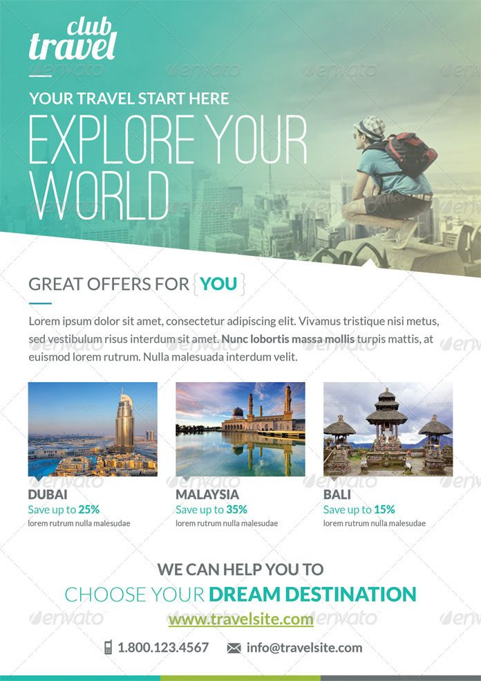 Check out my @Behance project \u201cTravel \u2013 Vacation Flyer Template - Vacation Brochure Template