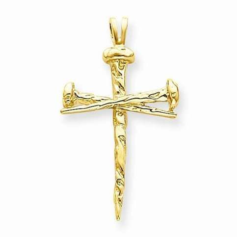 A unique nail cross in 14k polished yellow gold.  Average Gold Weight: 3.71 GM  Length of Item: 42 mm  Width of Item:25 mm